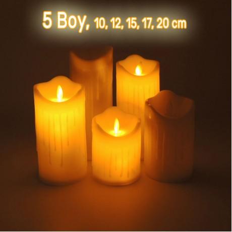 Titreyen Işıklı Erimiş Görünümlü Led Mum Pilli 5 Boy Tealight