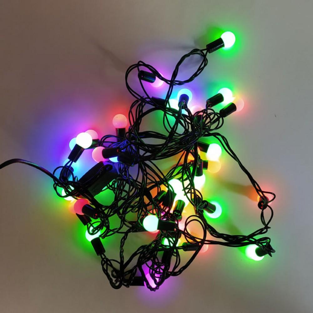Yılbaşı Ağaç Bahçe Küçük Top Süs 40 Led Işık 5M RGB Tek Modlu
