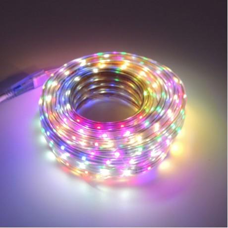 Silikonlu Şerit Led Işık 10 metre+Adaptör+RGB Renkli Şeffaf Set