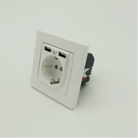 İkili 2,4 Amper USB Bağlantılı Topraklı Duvar Sıva Altı Priz 5 V