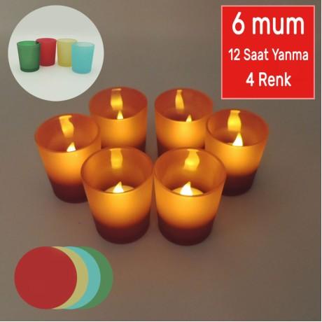 Cam Kadehli Sarı Titrek Işıklı Şarjlı Tealight 6 Led Mum 12 Saat