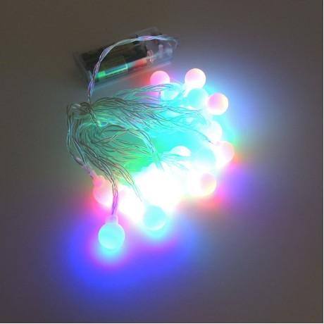 Top Pilli Yılbaşı Ağaç Bahçe İp Süs 20 Led Işık 3M Gün Işığı RGB