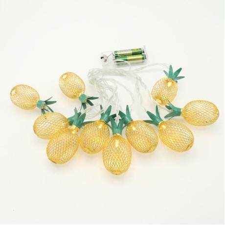 Ananas Yılbaşı Ağaç Bahçe İp Süs 10 Led Işık 2M Gün Işı