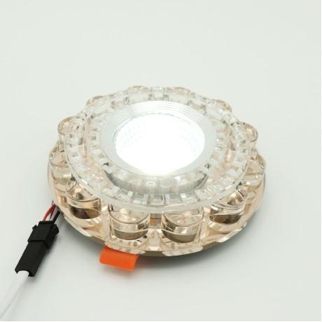 Dekoratif İnci Kristal Sıva Altı Led Spot Armatür 5W+5W Beyaz Gün Işığı 3 Kademe