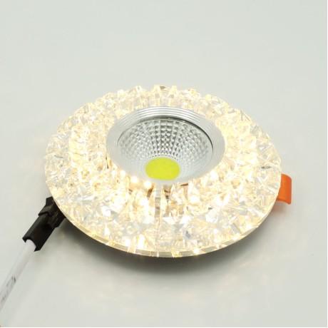 Dekoratif Dörtgen Kristal Sıva Altı Led Spot Armatür 5W+5W Beyaz Gün Işığı 3 Kademe