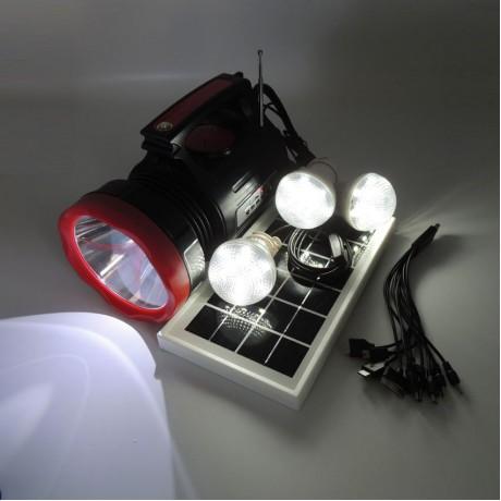 Fener Solar Güneş Şarjlı Led Kamp Lamba Işıldak FM Bluetooth MP3