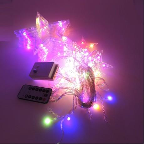 Sarkıt Yıldız Kumandalı Led Perde Işık Eklenir 2M RGB
