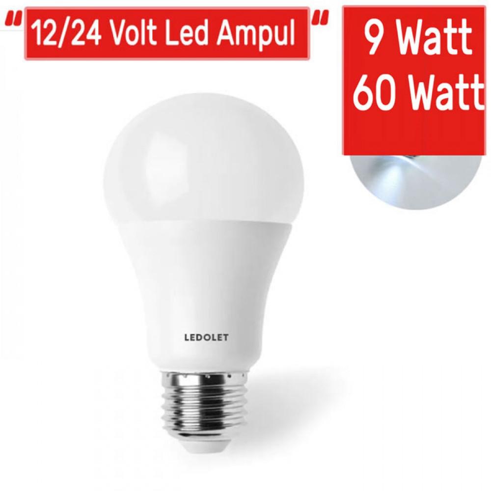 Led Ampul 12/24 Volt 9 Watt E27 Enerji Tasarruflu Beyaz Işık